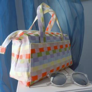 Duchesse or ange doas 3 sac boudoir motif carreaux jaune orange vert violet b
