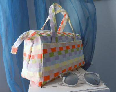 "Small ""Boudoir"" bag in yellow, orange, green and purple checks pattern"
