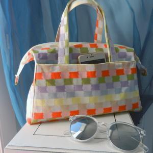 Duchesse or ange doas 3 sac boudoir motif carreaux jaune orange vert violet d