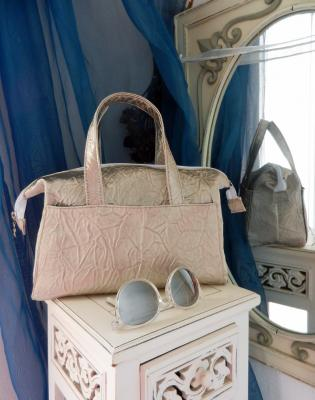 "Small ""Boudoir"" bag in creased effect silver fabric."