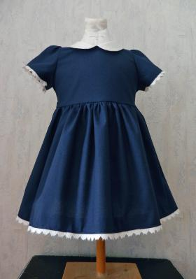 Night blue dress with white Peter Pan collar