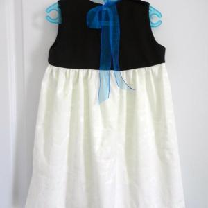 Duchesse or ange robe pacifique enfant fille blanche marine dress girl navy white b